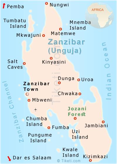 Sansibar Urlaub Landkarte